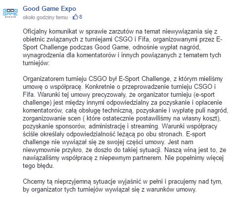 Źródło: izaktv.pl, fanpage Good Game Expo